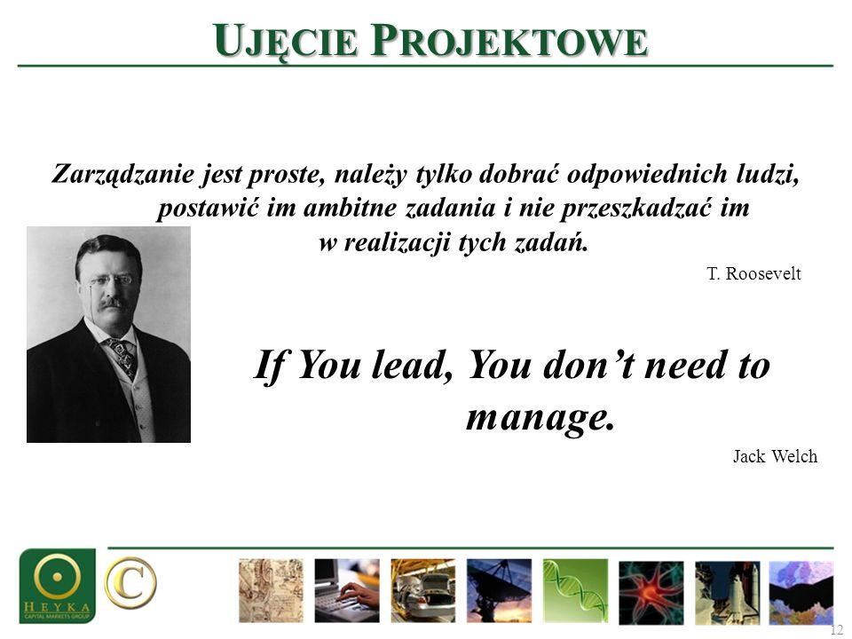 12 U JĘCIE P ROJEKTOWE Zarządzanie jest proste, należy tylko dobrać odpowiednich ludzi, postawić im ambitne zadania i nie przeszkadzać im w realizacji