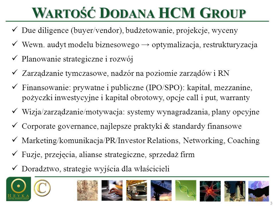 W ARTOŚĆ D ODANA HCM G ROUP 3 Due diligence (buyer/vendor), budżetowanie, projekcje, wyceny Wewn. audyt modelu biznesowego optymalizacja, restrukturyz