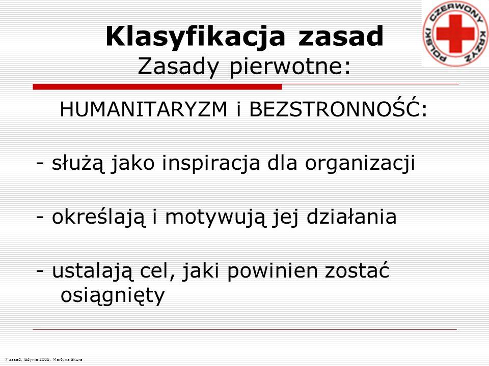 Klasyfikacja zasad Zasady pierwotne: HUMANITARYZM i BEZSTRONNOŚĆ: - służą jako inspiracja dla organizacji - określają i motywują jej działania - ustal