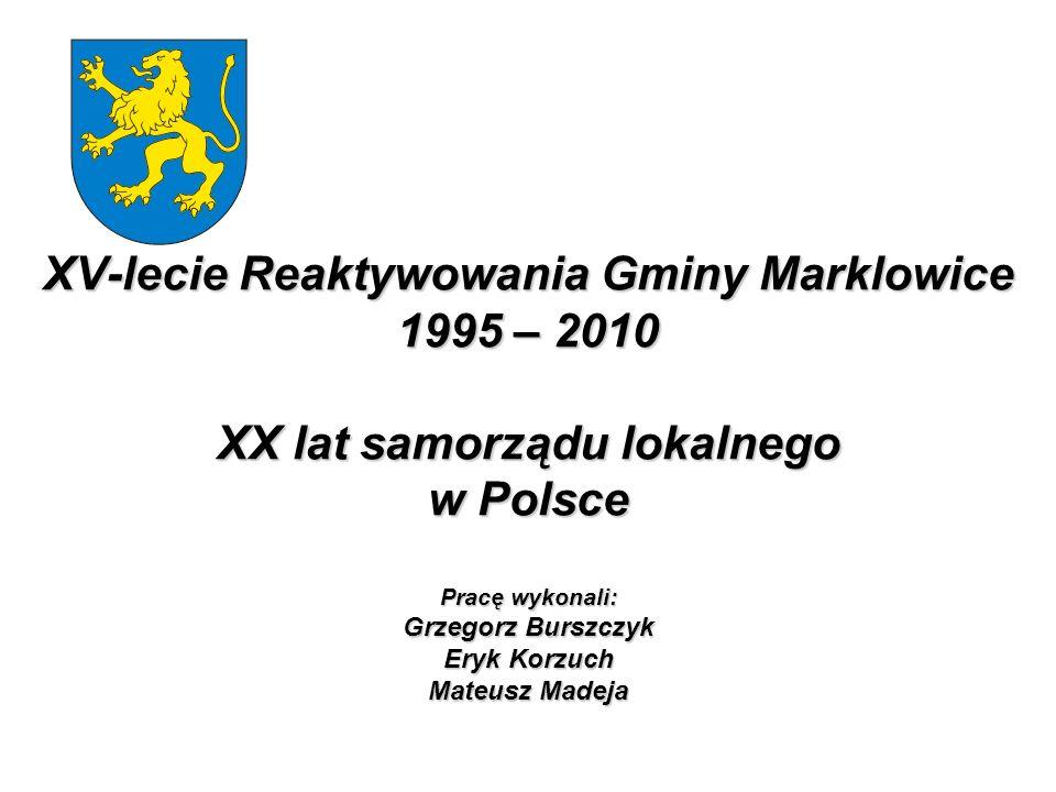 XV-lecie Reaktywowania Gminy Marklowice 1995 – 2010 XX lat samorządu lokalnego w Polsce Pracę wykonali: Grzegorz Burszczyk Eryk Korzuch Mateusz Madeja