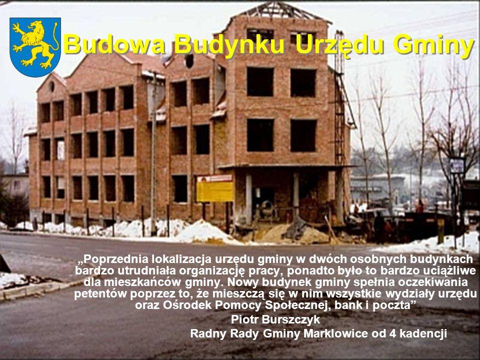 Budowa Budynku Urzędu Gminy Poprzednia lokalizacja urzędu gminy w dwóch osobnych budynkach bardzo utrudniała organizację pracy, ponadto było to bardzo