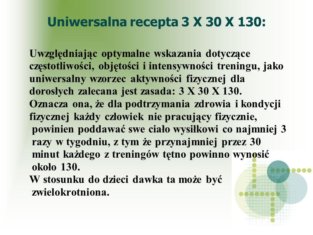 Uniwersalna recepta 3 X 30 X 130: Uwzględniając optymalne wskazania dotyczące częstotliwości, objętości i intensywności treningu, jako uniwersalny wzo
