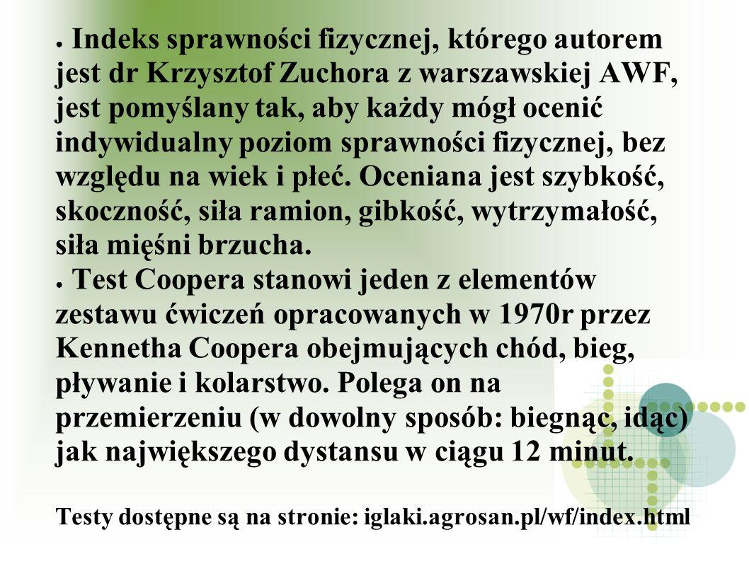 Indeks sprawności fizycznej, którego autorem jest dr Krzysztof Zuchora z warszawskiej AWF, jest pomyślany tak, aby każdy mógł ocenić indywidualny pozi