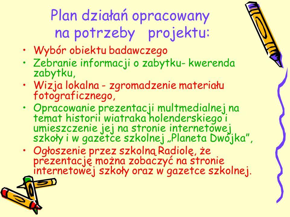Plan działań opracowany na potrzeby projektu: Wybór obiektu badawczego Zebranie informacji o zabytku- kwerenda zabytku, Wizja lokalna - zgromadzenie m