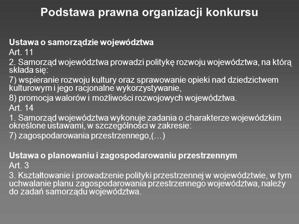 Podstawa prawna organizacji konkursu Ustawa o samorządzie województwa Art.