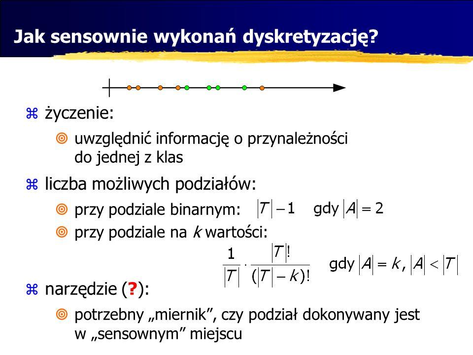 Jak sensownie wykonań dyskretyzację? życzenie: uwzględnić informację o przynależności do jednej z klas liczba możliwych podziałów: przy podziale binar