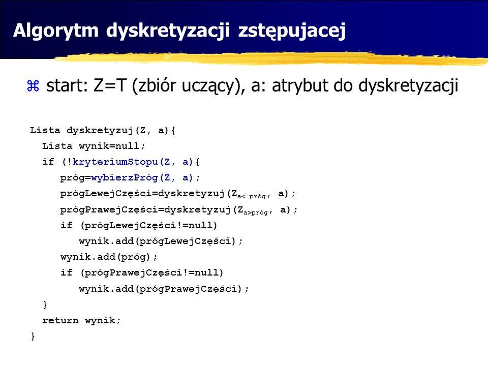 Algorytm dyskretyzacji zstępujacej start: Z=T (zbiór uczący), a: atrybut do dyskretyzacji Lista dyskretyzuj(Z, a){ Lista wynik=null; if (!kryteriumSto