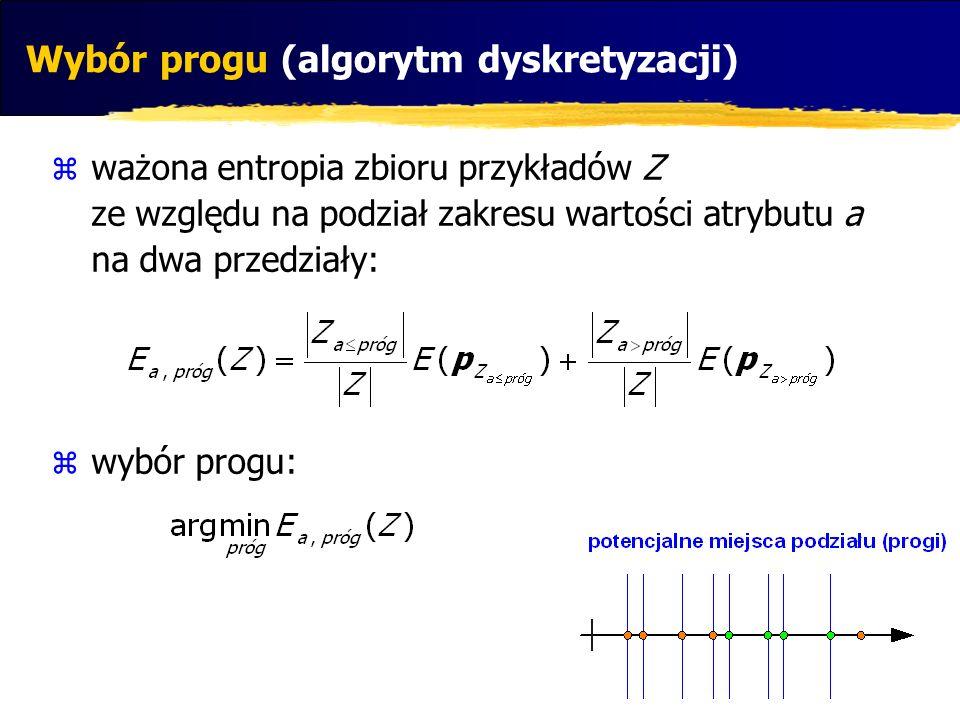 ważona entropia zbioru przykładów Z ze względu na podział zakresu wartości atrybutu a na dwa przedziały: wybór progu: Wybór progu (algorytm dyskretyza