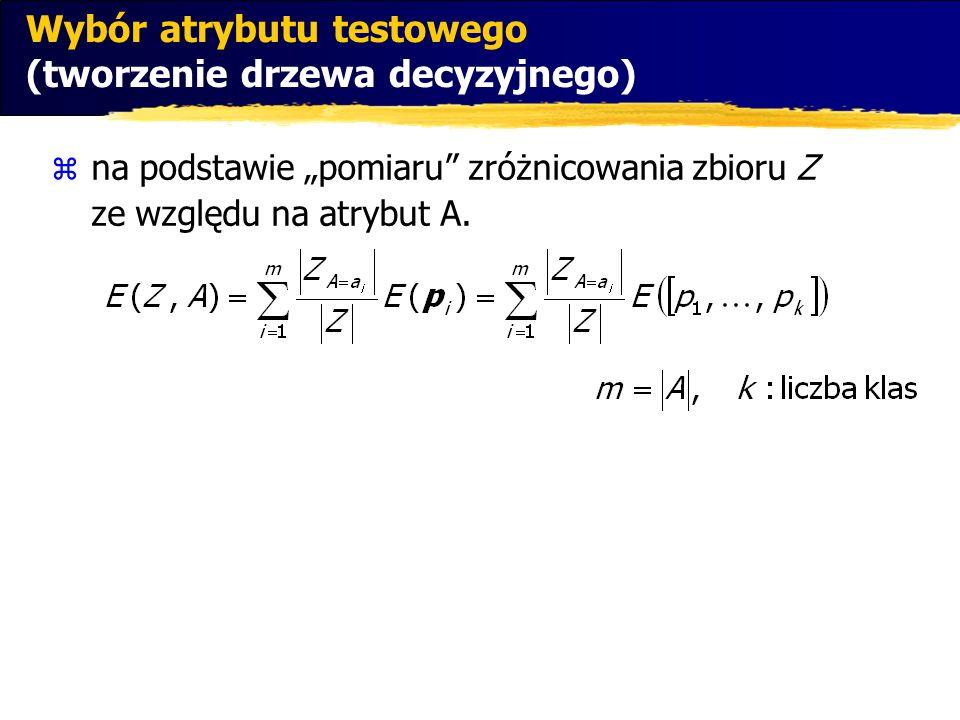 na podstawie pomiaru zróżnicowania zbioru Z ze względu na atrybut A. Wybór atrybutu testowego (tworzenie drzewa decyzyjnego)