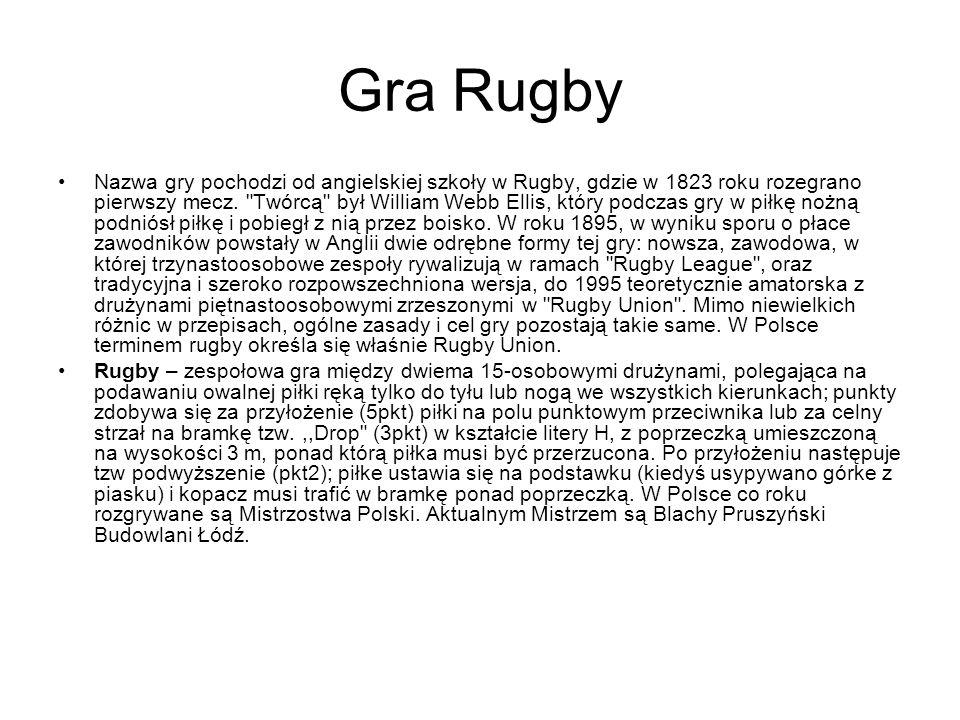 Gra Rugby Nazwa gry pochodzi od angielskiej szkoły w Rugby, gdzie w 1823 roku rozegrano pierwszy mecz.