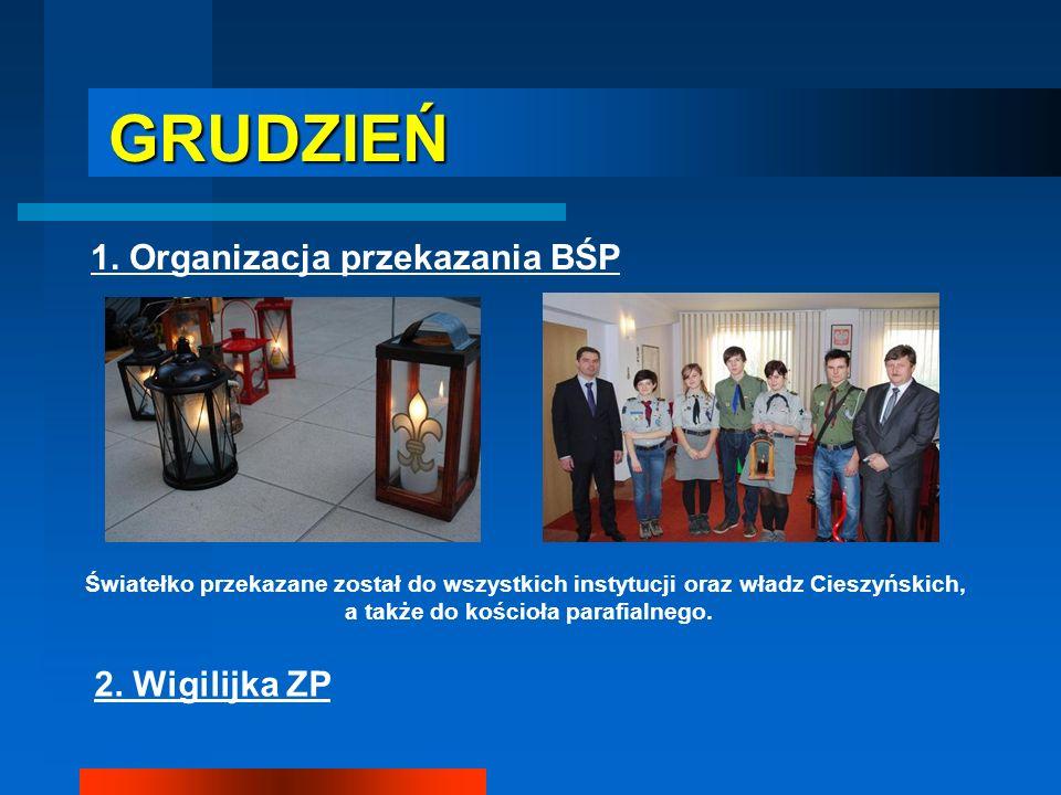 GRUDZIEŃ GRUDZIEŃ 1. Organizacja przekazania BŚP Światełko przekazane został do wszystkich instytucji oraz władz Cieszyńskich, a także do kościoła par