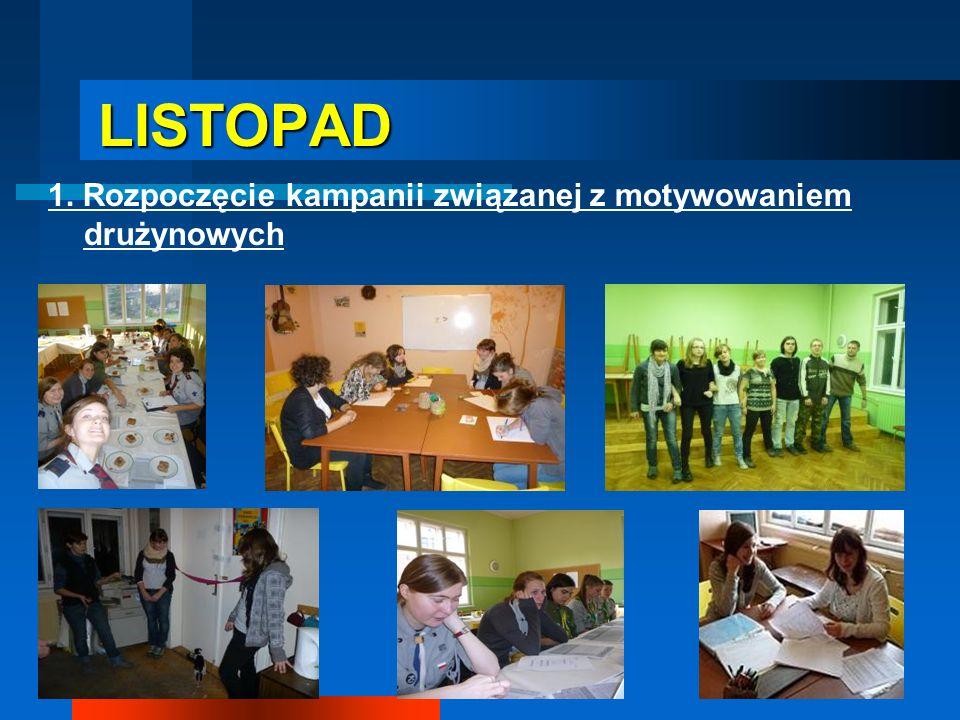 LISTOPAD LISTOPAD 1. Rozpoczęcie kampanii związanej z motywowaniem drużynowych