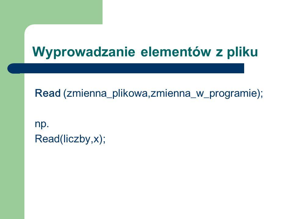 Wyprowadzanie elementów z pliku Read (zmienna_plikowa,zmienna_w_programie); np. Read(liczby,x);