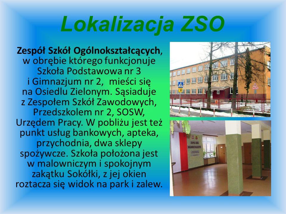 Lokalizacja ZSO Zespół Szkół Ogólnokształcących, w obrębie którego funkcjonuje Szkoła Podstawowa nr 3 i Gimnazjum nr 2, mieści się na Osiedlu Zielonym