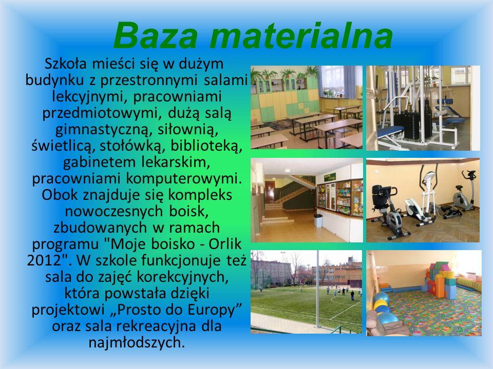Baza materialna Szkoła mieści się w dużym budynku z przestronnymi salami lekcyjnymi, pracowniami przedmiotowymi, dużą salą gimnastyczną, siłownią, świ