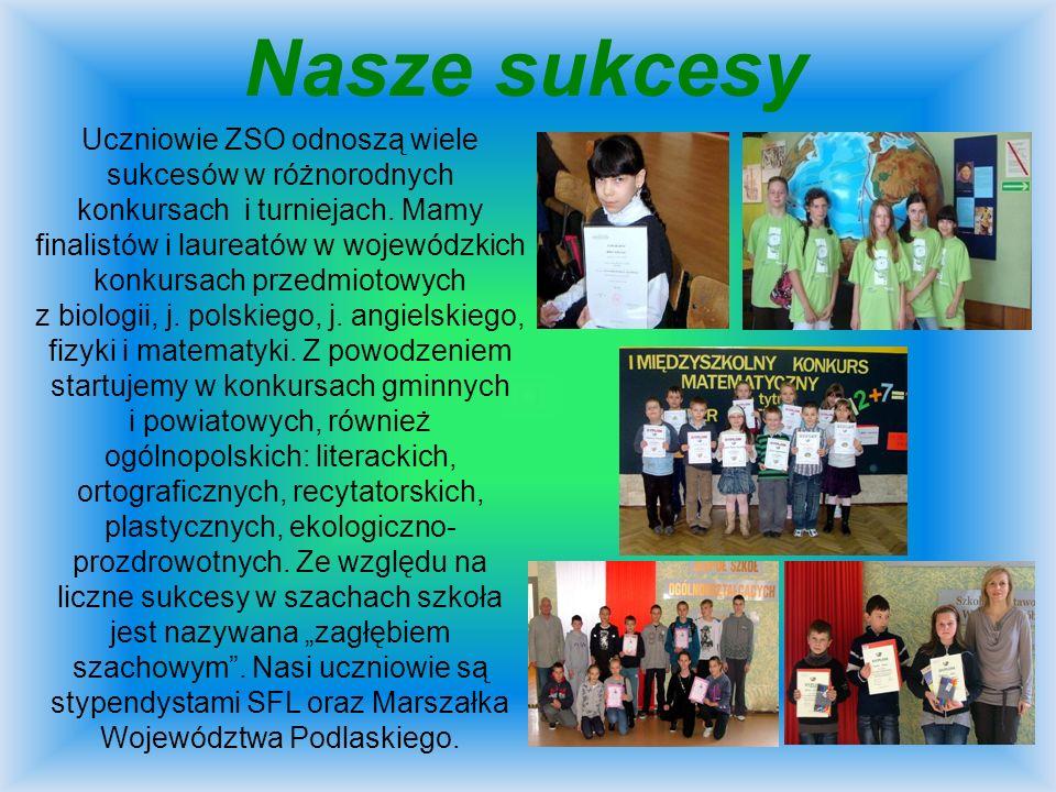 Nasze sukcesy Uczniowie ZSO odnoszą wiele sukcesów w różnorodnych konkursach i turniejach. Mamy finalistów i laureatów w wojewódzkich konkursach przed