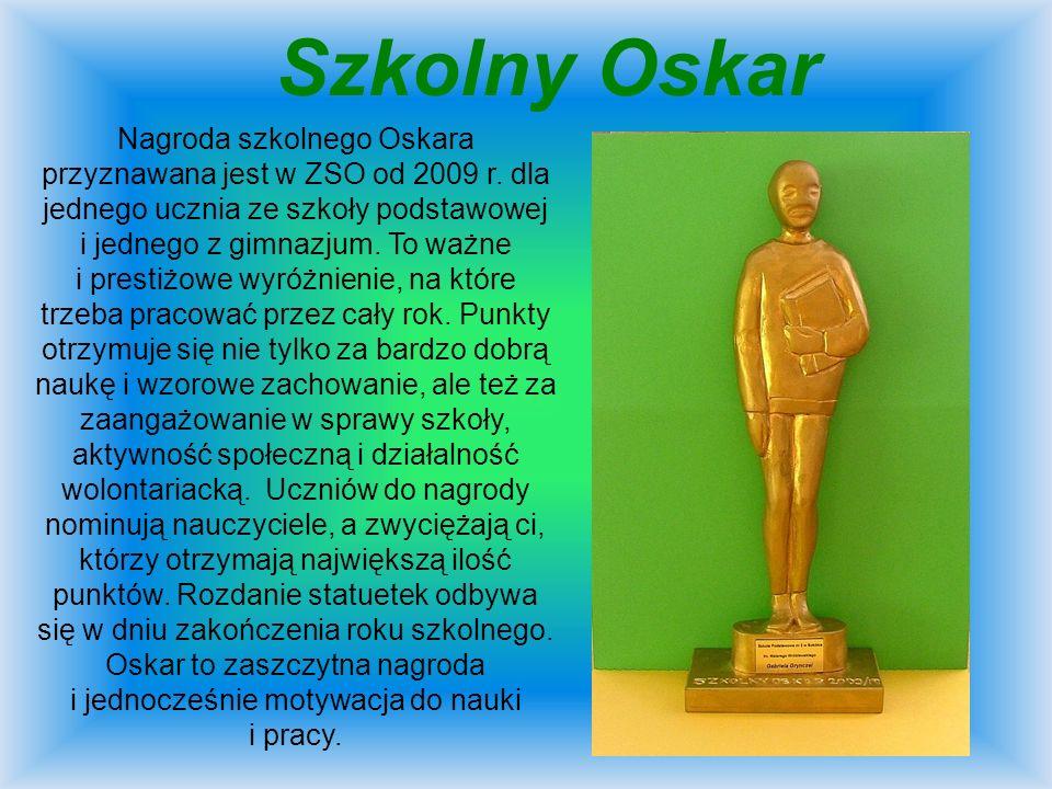 Szkolny Oskar Nagroda szkolnego Oskara przyznawana jest w ZSO od 2009 r. dla jednego ucznia ze szkoły podstawowej i jednego z gimnazjum. To ważne i pr