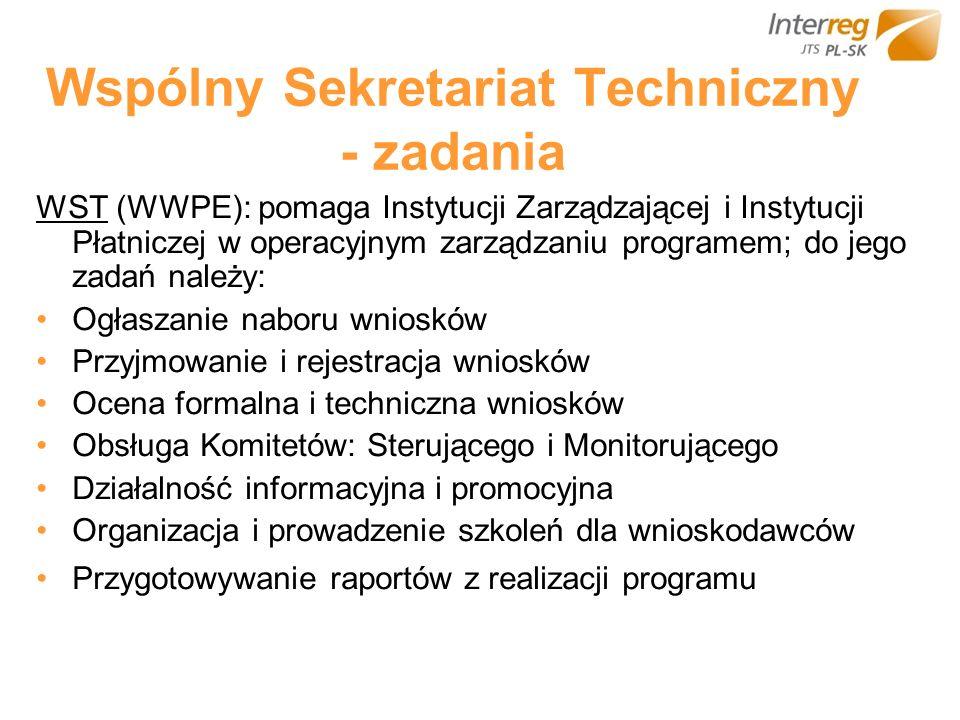 Wspólny Sekretariat Techniczny - zadania WST (WWPE): pomaga Instytucji Zarządzającej i Instytucji Płatniczej w operacyjnym zarządzaniu programem; do j