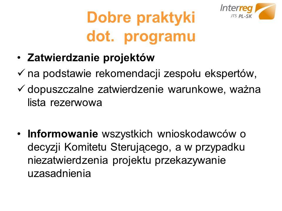 Dobre praktyki dot. programu Zatwierdzanie projektów na podstawie rekomendacji zespołu ekspertów, dopuszczalne zatwierdzenie warunkowe, ważna lista re