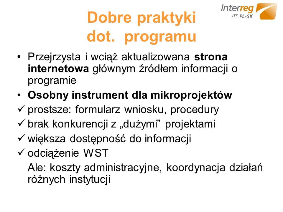 Dobre praktyki dot. programu Przejrzysta i wciąż aktualizowana strona internetowa głównym źródłem informacji o programie Osobny instrument dla mikropr