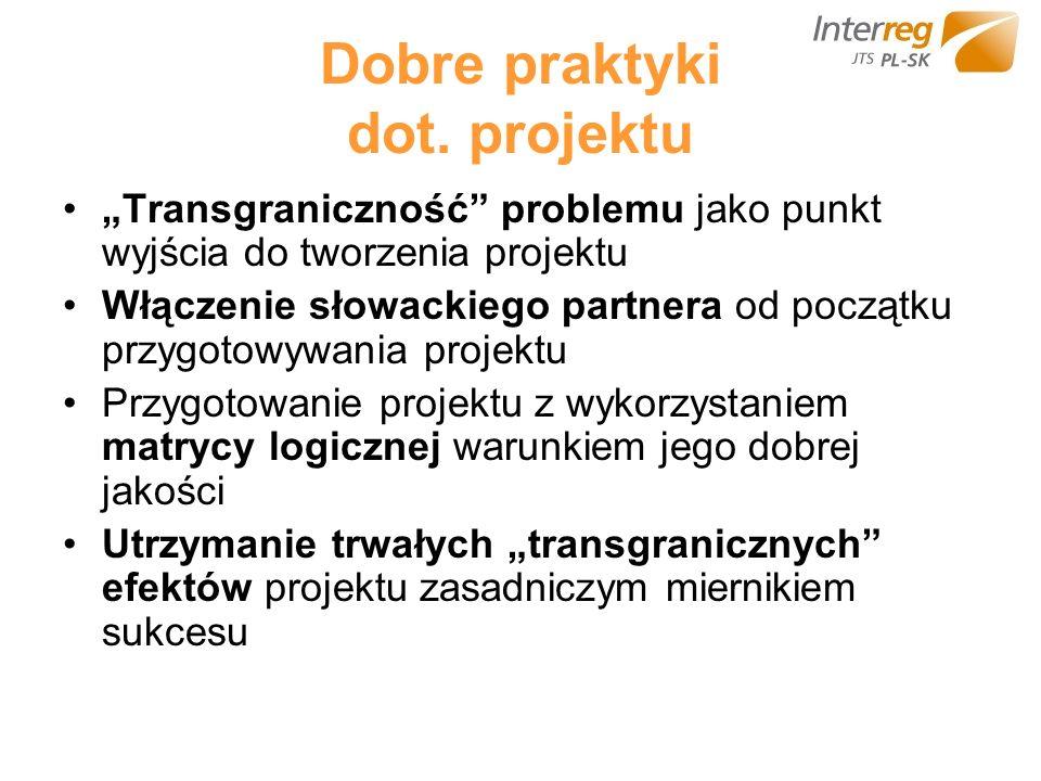Dobre praktyki dot. projektu Transgraniczność problemu jako punkt wyjścia do tworzenia projektu Włączenie słowackiego partnera od początku przygotowyw