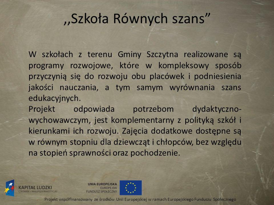 ,,Szkoła Równych szans Projekt współfinansowany ze środków Unii Europejskiej w ramach Europejskiego Funduszu Społecznego W szkołach z terenu Gminy Szc