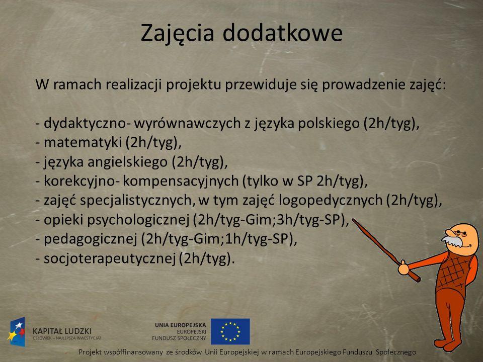 Zajęcia dodatkowe Projekt współfinansowany ze środków Unii Europejskiej w ramach Europejskiego Funduszu Społecznego W ramach realizacji projektu przew