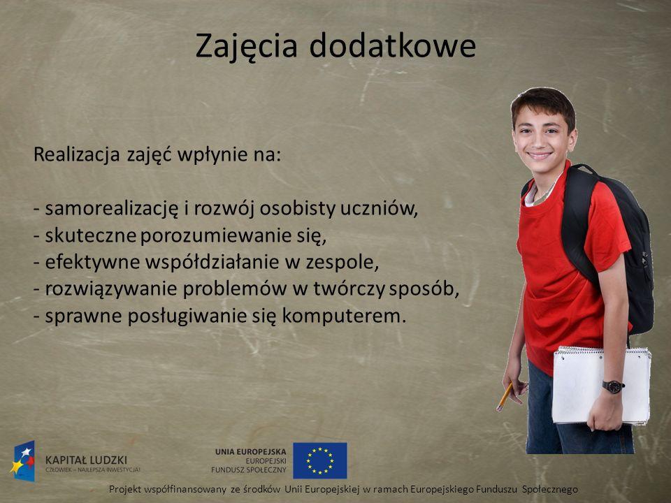 Zajęcia dodatkowe Projekt współfinansowany ze środków Unii Europejskiej w ramach Europejskiego Funduszu Społecznego Realizacja zajęć wpłynie na: - sam