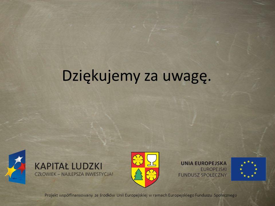 Dziękujemy za uwagę. Projekt współfinansowany ze środków Unii Europejskiej w ramach Europejskiego Funduszu Społecznego