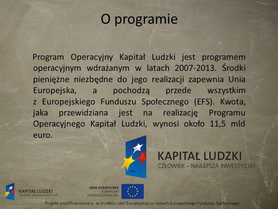 O programie Program Operacyjny Kapitał Ludzki jest programem operacyjnym wdrażanym w latach 2007-2013. Środki pieniężne niezbędne do jego realizacji z