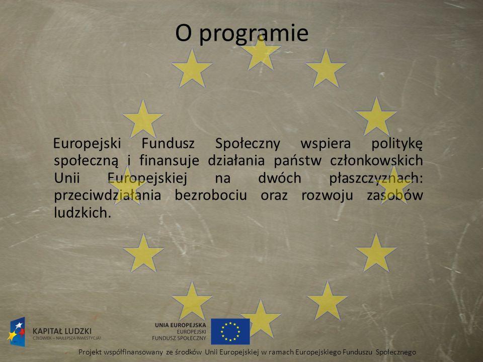 O programie Europejski Fundusz Społeczny wspiera politykę społeczną i finansuje działania państw członkowskich Unii Europejskiej na dwóch płaszczyznac