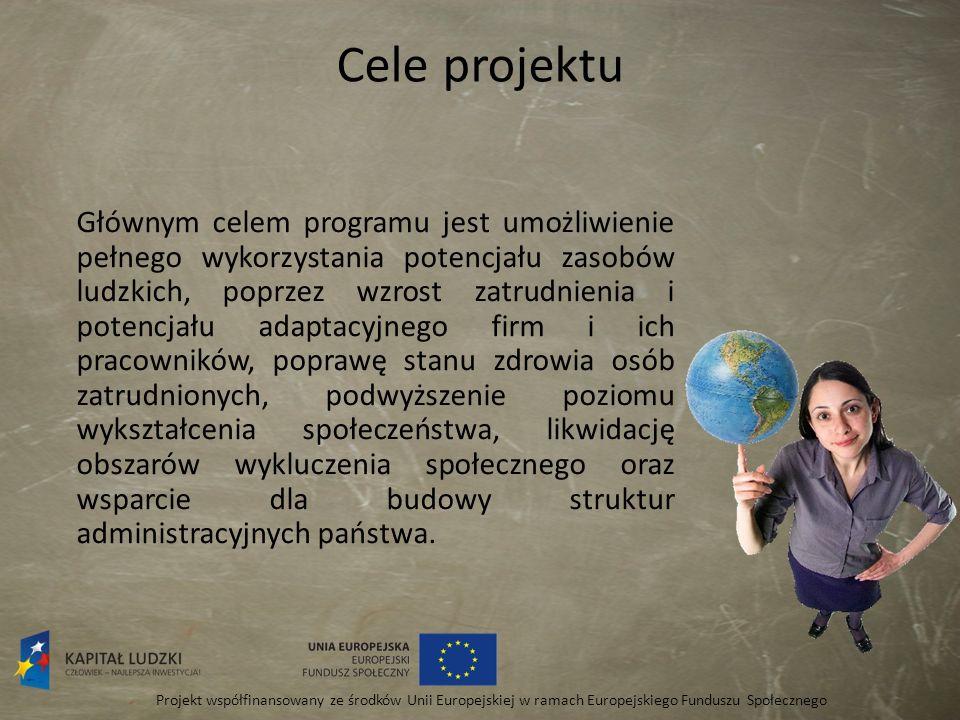 Cele projektu Program Operacyjny Kapitał Ludzki umożliwi przyspieszenie rozwoju społeczno - gospodarczego naszego kraju, wzrost zatrudnienia oraz zwiększeniu spójności, zarówno społecznej, gospodarczej, jaki i terytorialnej z innymi krajami Unii Europejskiej.