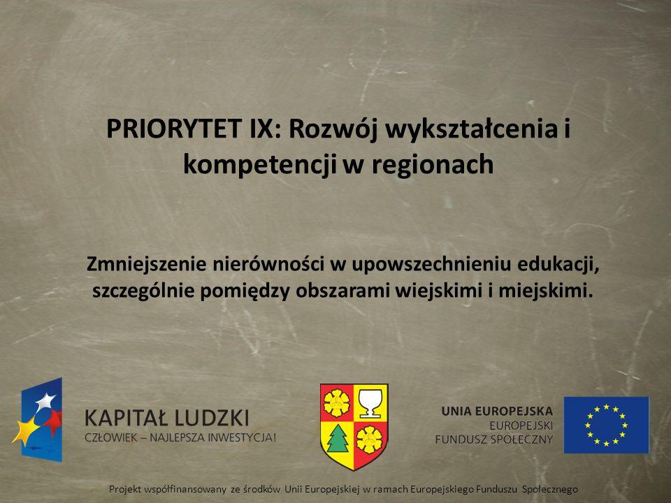 PRIORYTET IX: Rozwój wykształcenia i kompetencji w regionach Zmniejszenie nierówności w upowszechnieniu edukacji, szczególnie pomiędzy obszarami wiejs