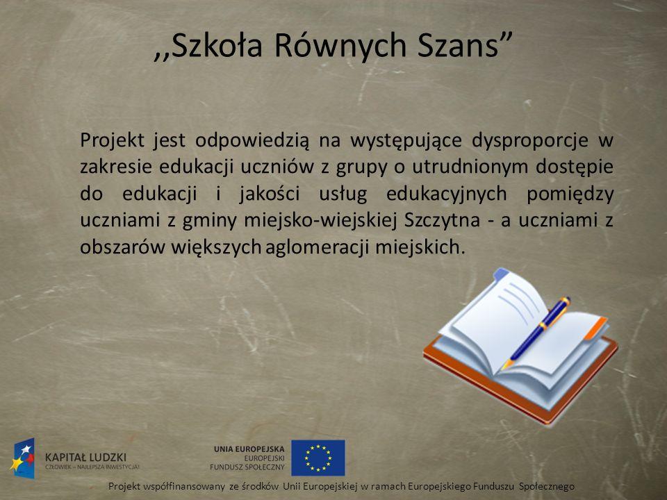 ,,Szkoła Równych szans Projekt współfinansowany ze środków Unii Europejskiej w ramach Europejskiego Funduszu Społecznego W szkołach z terenu Gminy Szczytna realizowane są programy rozwojowe, które w kompleksowy sposób przyczynią się do rozwoju obu placówek i podniesienia jakości nauczania, a tym samym wyrównania szans edukacyjnych.