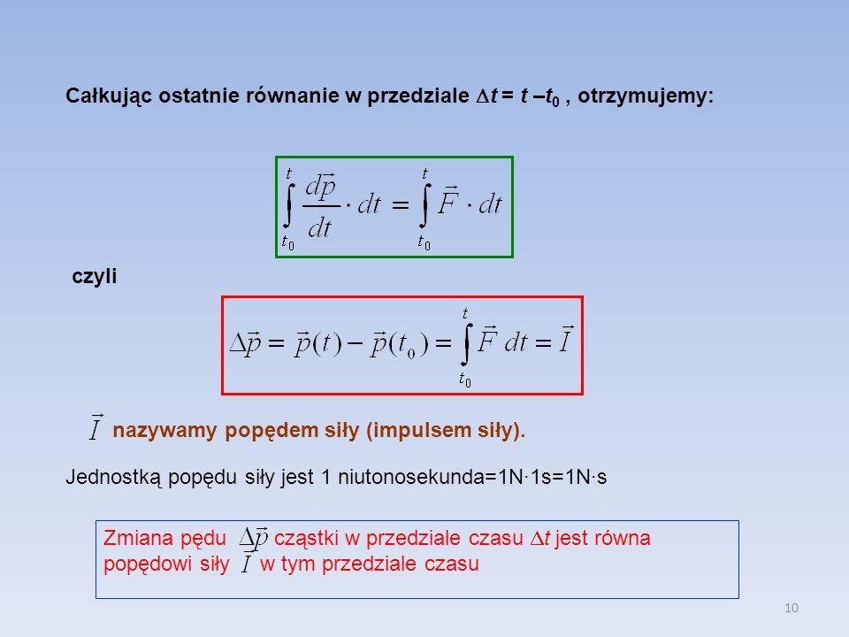 10 Całkując ostatnie równanie w przedziale t = t –t 0, otrzymujemy: czyli nazywamy popędem siły (impulsem siły). Jednostką popędu siły jest 1 niutonos