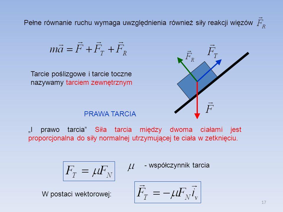 17 Pełne równanie ruchu wymaga uwzględnienia również siły reakcji więzów Tarcie poślizgowe i tarcie toczne nazywamy tarciem zewnętrznym PRAWA TARCIA I