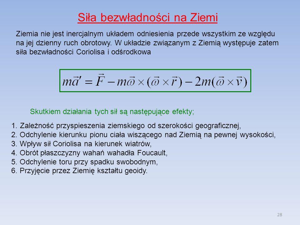 28 Siła bezwładności na Ziemi Ziemia nie jest inercjalnym układem odniesienia przede wszystkim ze względu na jej dzienny ruch obrotowy. W układzie zwi