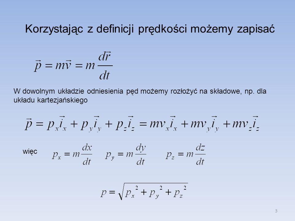 3 Korzystając z definicji prędkości możemy zapisać W dowolnym układzie odniesienia pęd możemy rozłożyć na składowe, np. dla układu kartezjańskiego wię