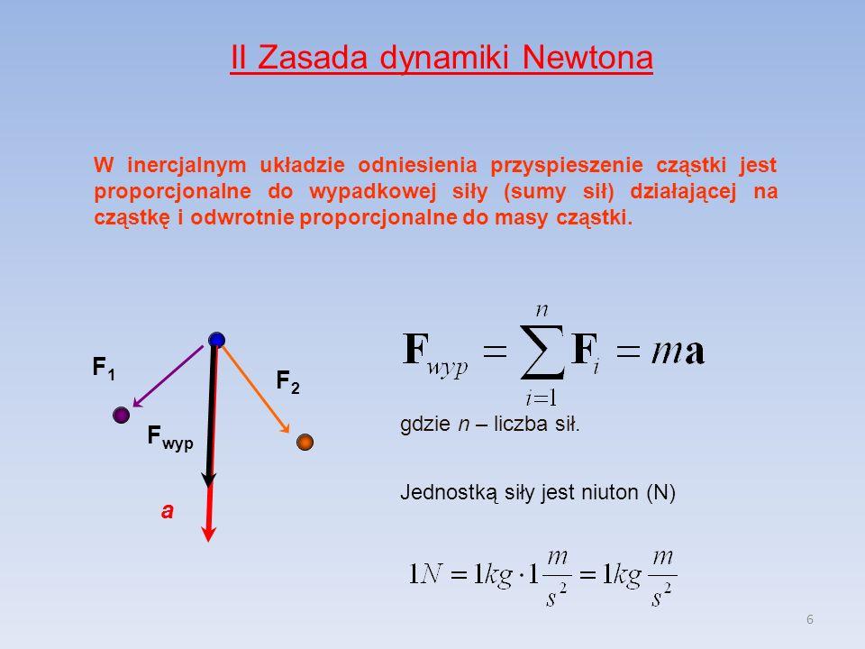 6 II Zasada dynamiki Newtona W inercjalnym układzie odniesienia przyspieszenie cząstki jest proporcjonalne do wypadkowej siły (sumy sił) działającej na cząstkę i odwrotnie proporcjonalne do masy cząstki.