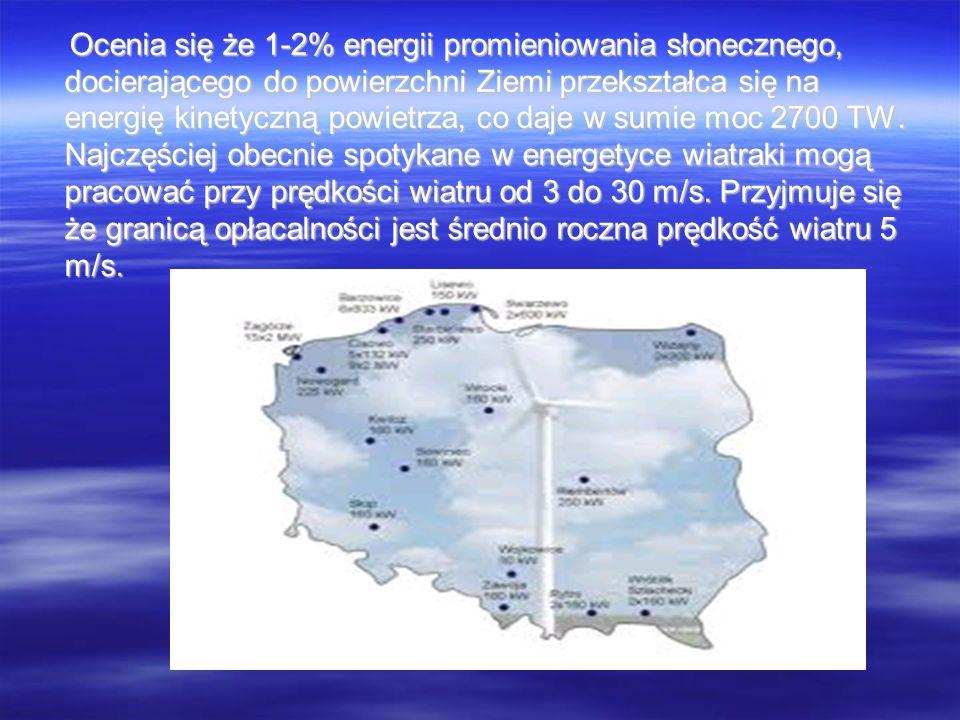 Ocenia się że 1-2% energii promieniowania słonecznego, docierającego do powierzchni Ziemi przekształca się na energię kinetyczną powietrza, co daje w