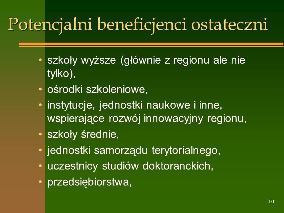 10 Potencjalni beneficjenci ostateczni szkoły wyższe (głównie z regionu ale nie tylko), ośrodki szkoleniowe, instytucje, jednostki naukowe i inne, wsp