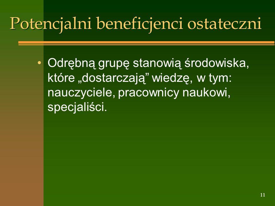 11 Potencjalni beneficjenci ostateczni Odrębną grupę stanowią środowiska, które dostarczają wiedzę, w tym: nauczyciele, pracownicy naukowi, specjaliśc