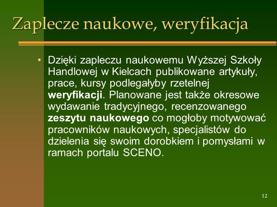 12 Zaplecze naukowe, weryfikacja Dzięki zapleczu naukowemu Wyższej Szkoły Handlowej w Kielcach publikowane artykuły, prace, kursy podlegałyby rzetelne