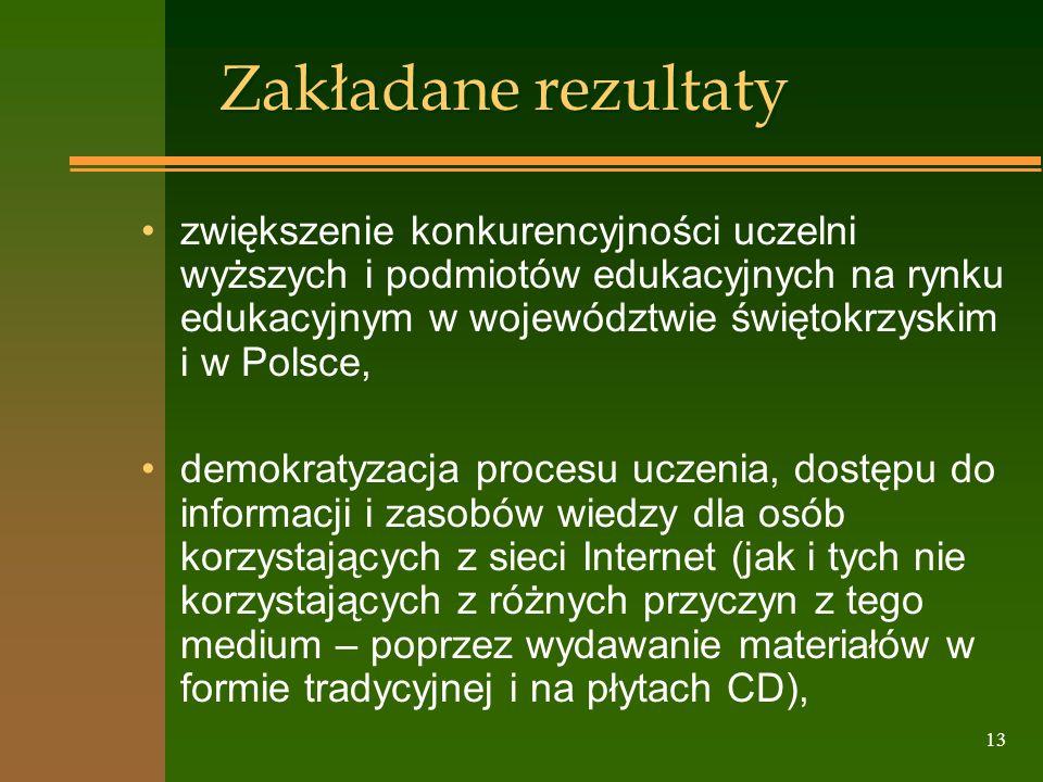 13 Zakładane rezultaty zwiększenie konkurencyjności uczelni wyższych i podmiotów edukacyjnych na rynku edukacyjnym w województwie świętokrzyskim i w P