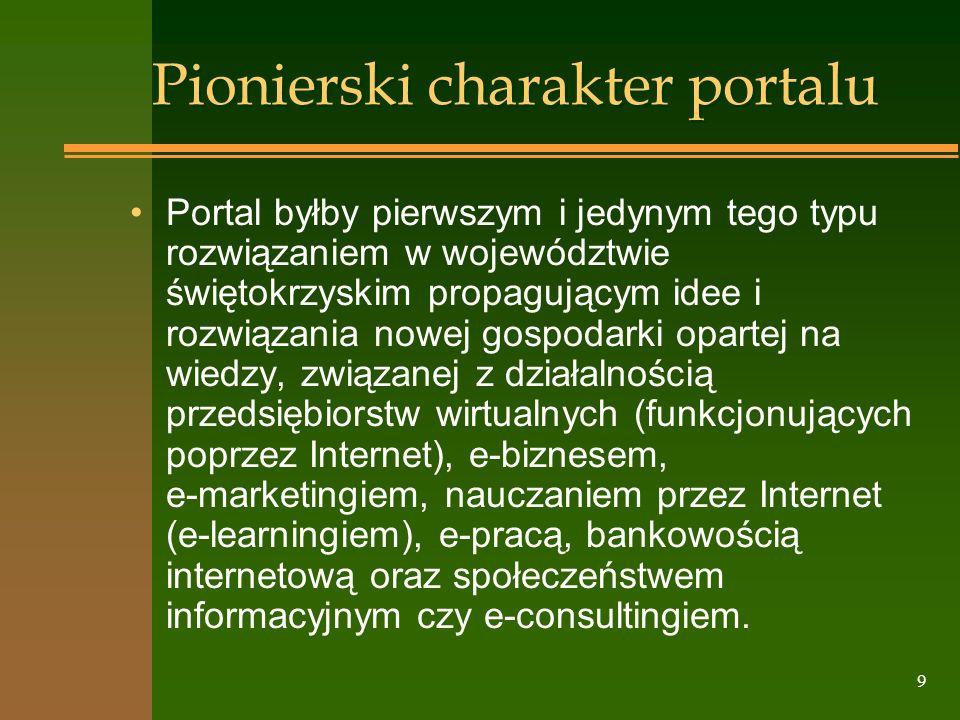 9 Pionierski charakter portalu Portal byłby pierwszym i jedynym tego typu rozwiązaniem w województwie świętokrzyskim propagującym idee i rozwiązania n