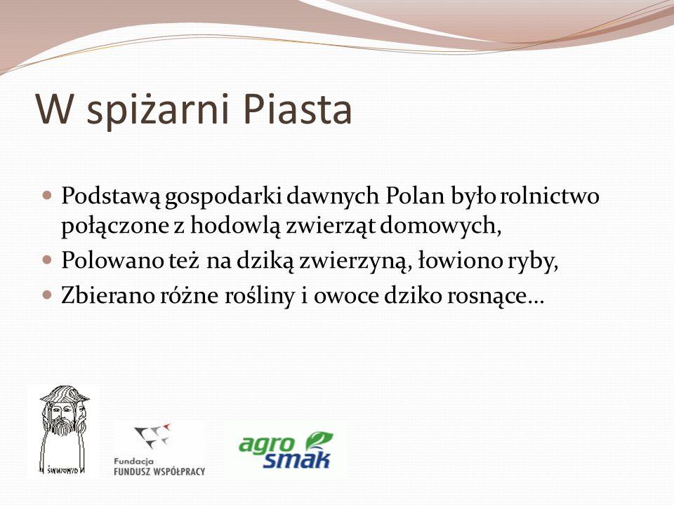 W spiżarni Piasta Podstawą gospodarki dawnych Polan było rolnictwo połączone z hodowlą zwierząt domowych, Polowano też na dziką zwierzyną, łowiono ryb