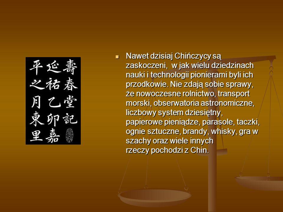 PODSUMOWANIE Historia uświadamia nam, że Chiny były zawsze jednym z najbardziej zaawansowanych pod względem naukowym i technologicznym krajów na świecie.