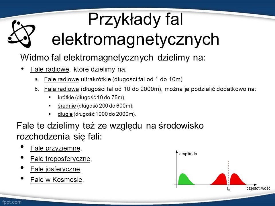 Przykłady fal elektromagnetycznych Widmo fal elektromagnetycznych dzielimy na: Fale radiowe, które dzielimy na: a. Fale radiowe ultrakrótkie (długości
