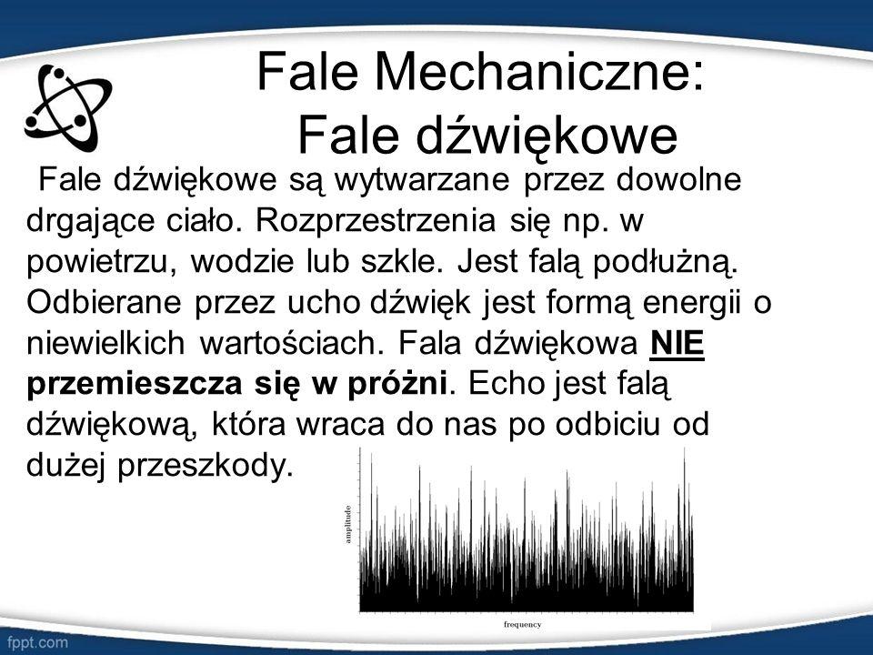 Fale Mechaniczne: Fale dźwiękowe Fale dźwiękowe są wytwarzane przez dowolne drgające ciało. Rozprzestrzenia się np. w powietrzu, wodzie lub szkle. Jes