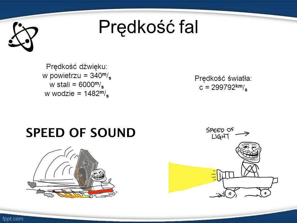 Prędkość fal Prędkość światła: c = 299792 km / s Prędkość dźwięku: w powietrzu = 340 m / s w stali = 6000 m / s w wodzie = 1482 m / s